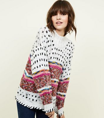 White Fairisle Multicoloured Knitted Jumper
