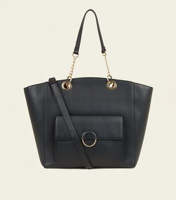 Black Leather-Look Ring Front Tote Bag