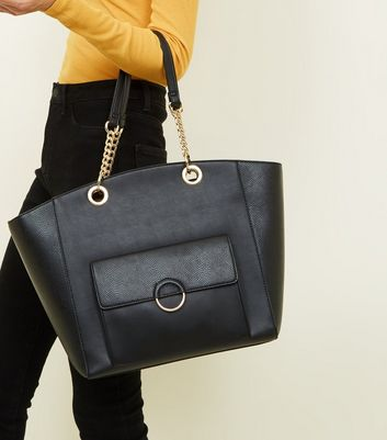 Black Leather-Look Ring Front Tote Bag New Look