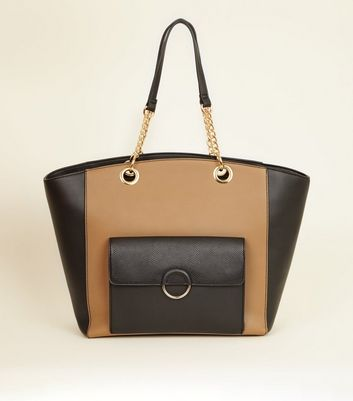 Camel Leather-Look Block Ring Front Tote Bag