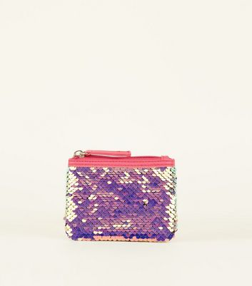 Pink Neon Sequin Coin Purse