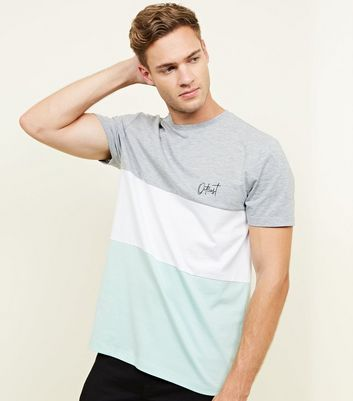 Light Green Outcast Embroidered Colour Block T-Shirt