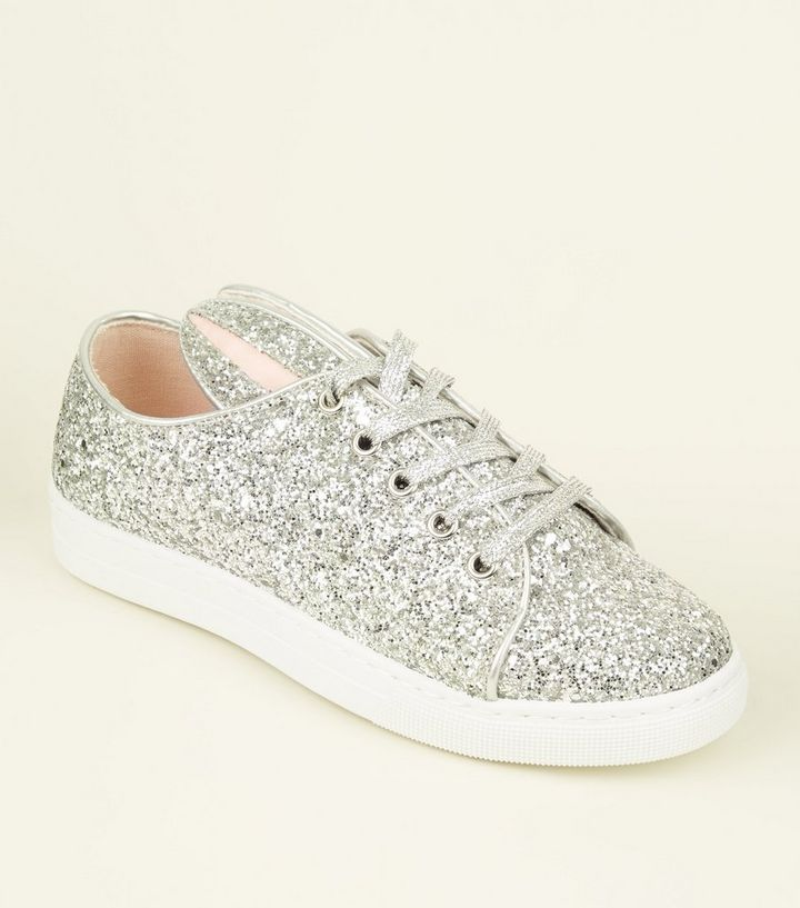 9c8584b6231c Silver Glitter Bunny Lace Up Trainers | New Look