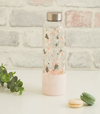 Pink Flecked Print Small Glass Water Bottle