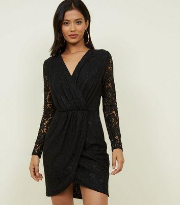 Blue Vanilla Black Lace Wrap Dress New Look
