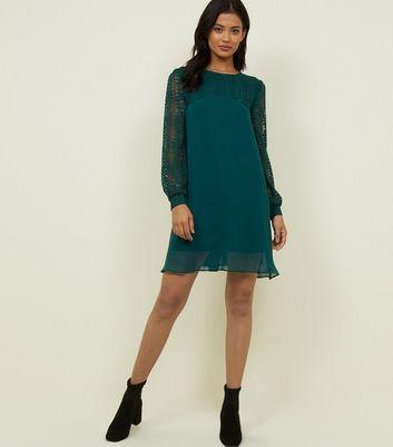 Blue Vanilla Green Lace Sleeve Swing Dress New Look