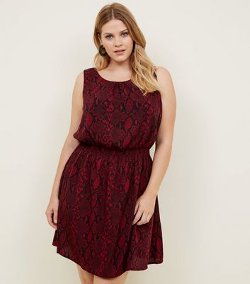 Curves Red Snake Print Shirred Waist Dress