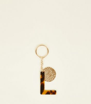 Multicoloured Faux Tortoiseshell 'L' Keyring