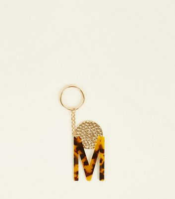 Multicoloured Faux Tortoiseshell 'M' Keyring