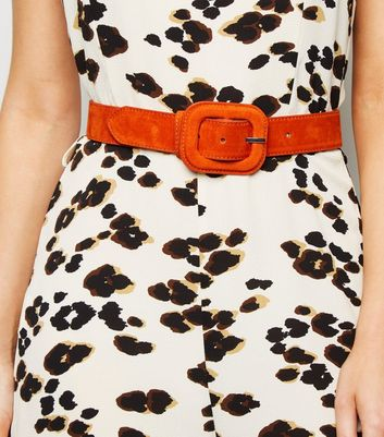 Orange Suedette Covered Buckle Waist Belt