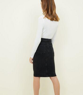 Black Washed Denim Pencil Skirt New Look