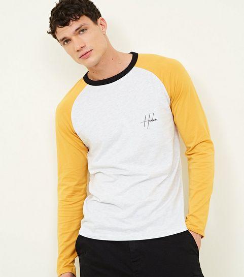 Yellow Raglan Sleeve Harlem Slogan T Shirt