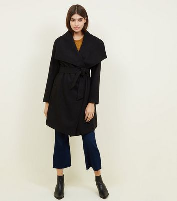 Black Waterfall Belted Wrap Coat by New Look