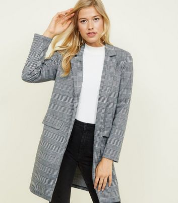 Black Prince of Wales Check Longline Jersey Coat