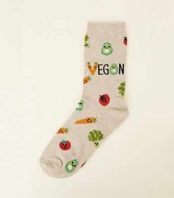 Cream Vegan Vegetable Pattern Socks