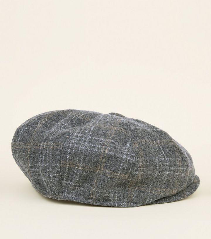 1bc601160bba9 Light Grey Check Baker Boy Hat
