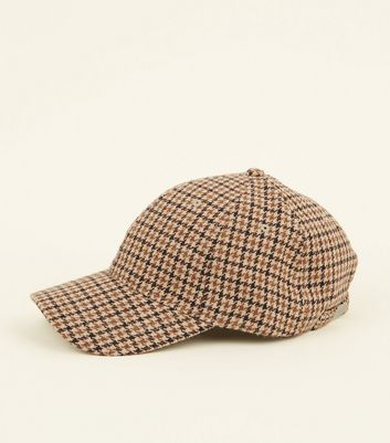 Brown Houndstooth Check Cap