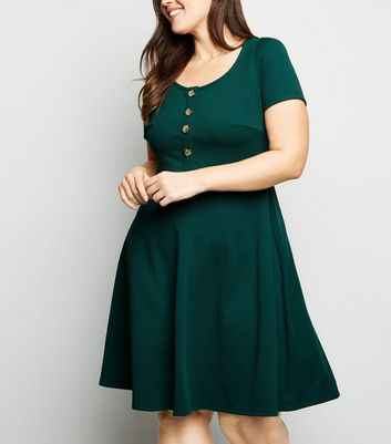 Curves Dark Green Textured Skater Dress