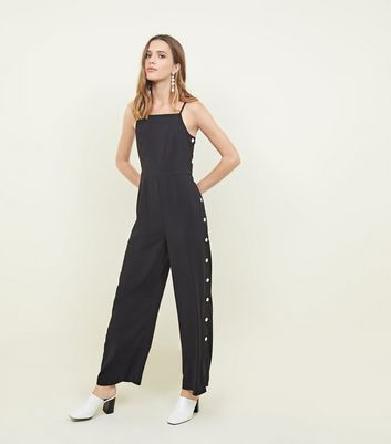 Black Strappy Button Jumpsuit