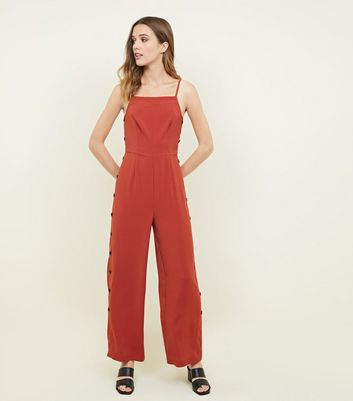 Rust Strappy Button Side Jumpsuit