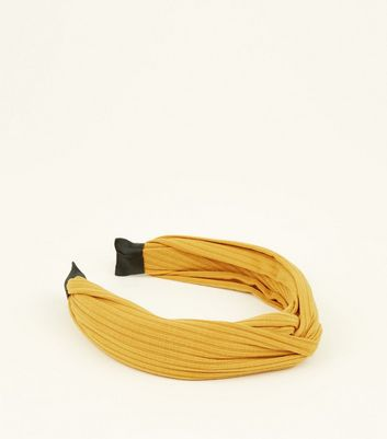 Yellow Ribbed Knot Top Alice Band