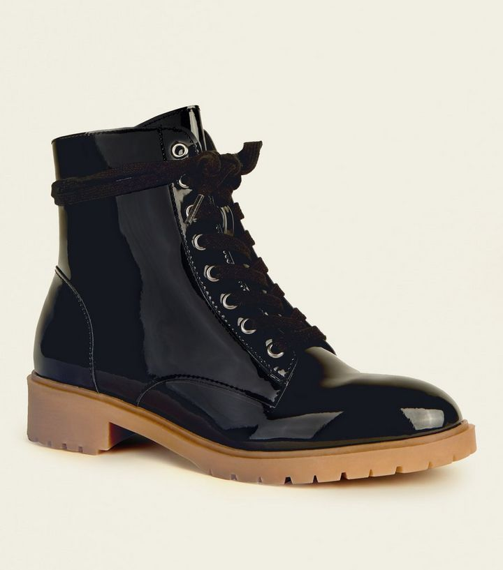 e114388fa36 Black Patent Lace-Up Chunky Boots