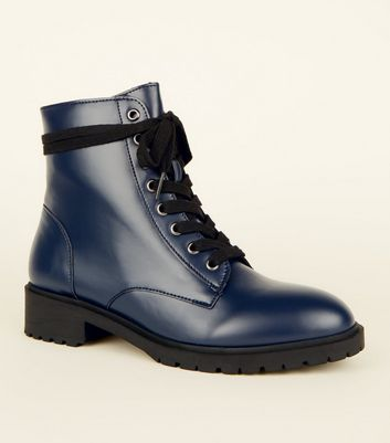 Navy Chunky Lace-Up Boots