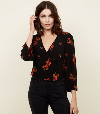 Black Floral Print Button Front Shirt