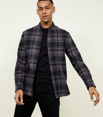 Dark Grey Check Cotton Long Sleeve Shirt