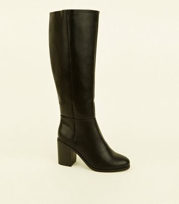 Extra Calf Fit Black Block Heel Knee High Boots