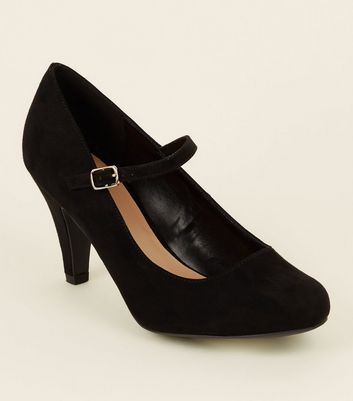 Extra Wide Fit Black Mary Jane Courts