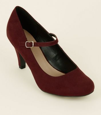 Extra Wide Fit Dark Red Mary Jane Courts