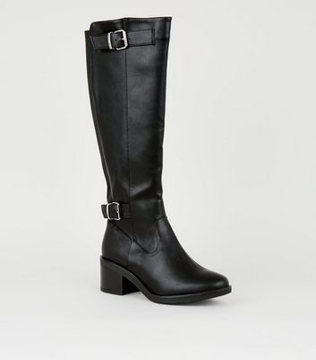 Wide Fit Black Low Block Heel Knee High Boots