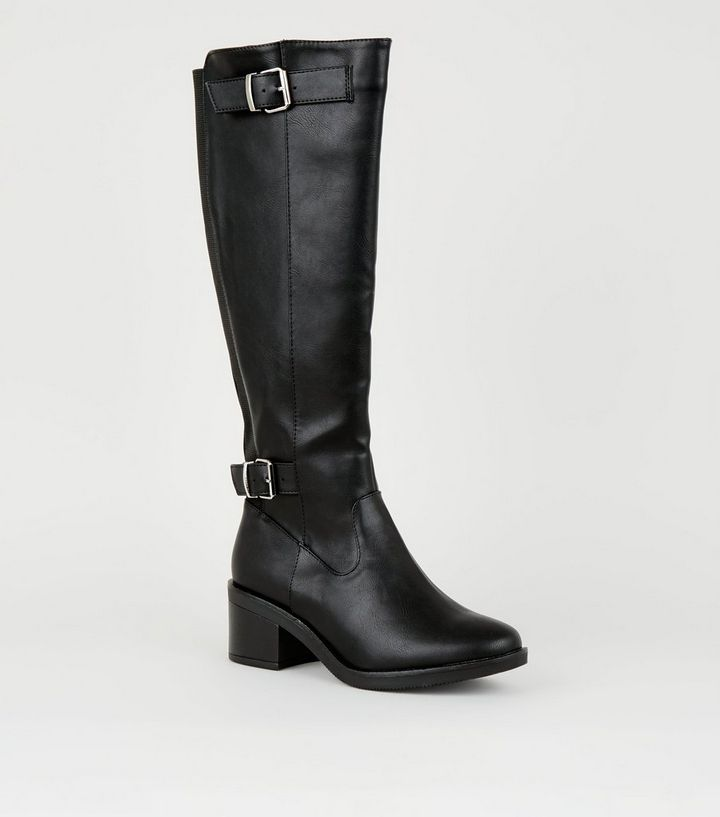 818506afbfb Wide Fit Black Low Block Heel Knee High Boots