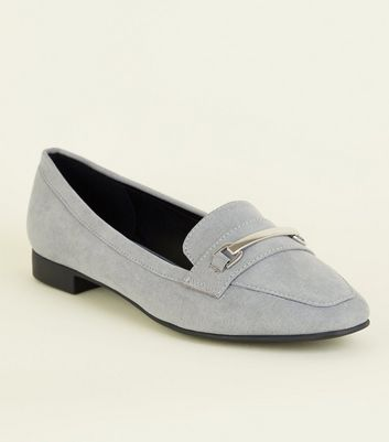 Wide Fit Grey Matte Suedette Panelled Loafers