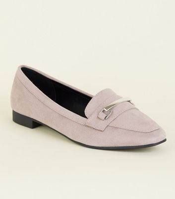 Wide Fit Lilac Matte Suedette Panelled Loafers by New Look