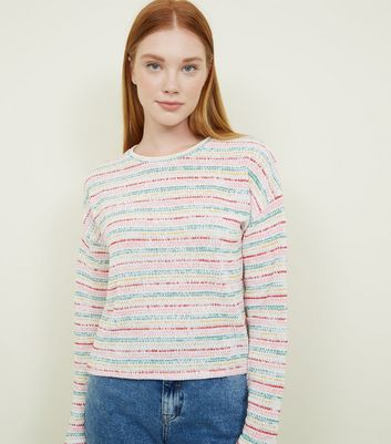 White Rainbow Stripe Fine Knit Top