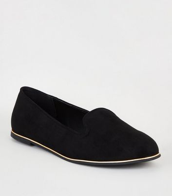 Wide Fit Black Suedette Piped Edge Loafers by New Look