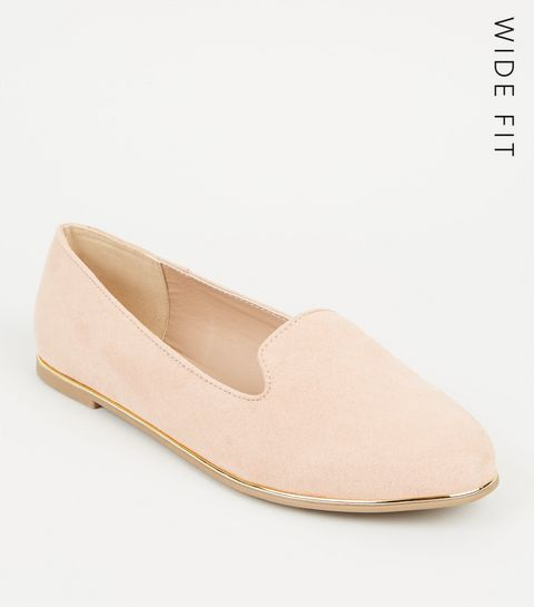 36c00501dd18 ... Wide Fit Nude Suedette Metal Trim Loafers ...