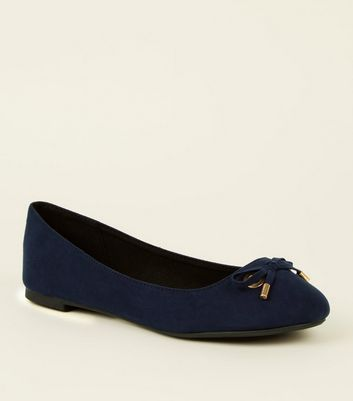 Wide Fit Navy Suedette Eye Bow Pumps