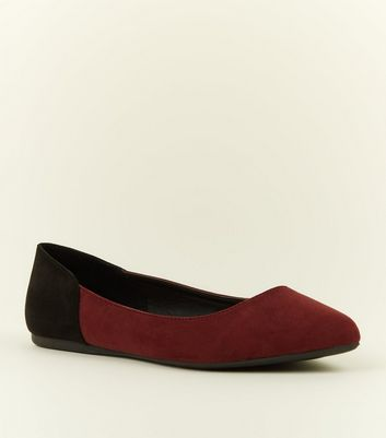 Wide Fit Dark Red Contrast Heel Pumps