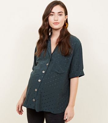 Maternity Dark Green Spot Jacquard Shirt