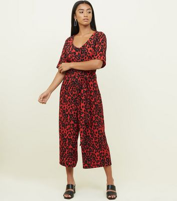 Petite Red Leopard Print Belted Jumpsuit