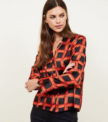 Red Grid Check Satin Button Front Shirt