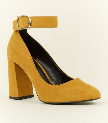 Wide Fit Mustard Flare Heel Ankle Strap Courts