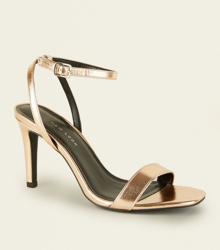 c5c29f6caf402 Wide Fit Rose Gold Metallic Heeled Sandals   New Look