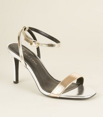 Wide Fit Silver and Gold Metallic Stiletto Sandals