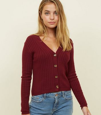 Petite Plum Ribbed Faux Horn Button Up Cardigan
