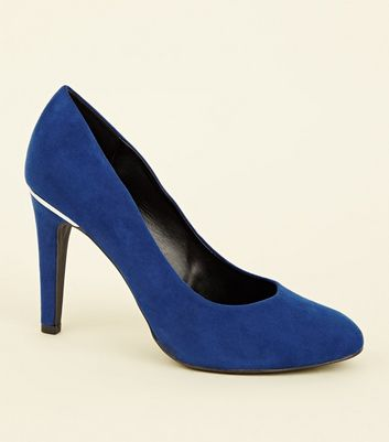 Wide Fit Bright Blue Suedette Metal Trim Round Toe Courts