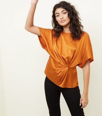 Rust Satin Feather Texture Twist Front Top